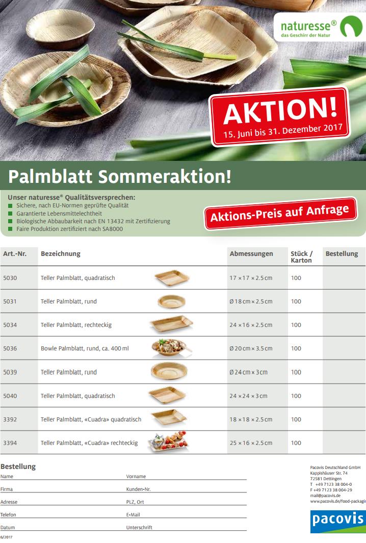 Palmblatt Sommeraktion Preisliste